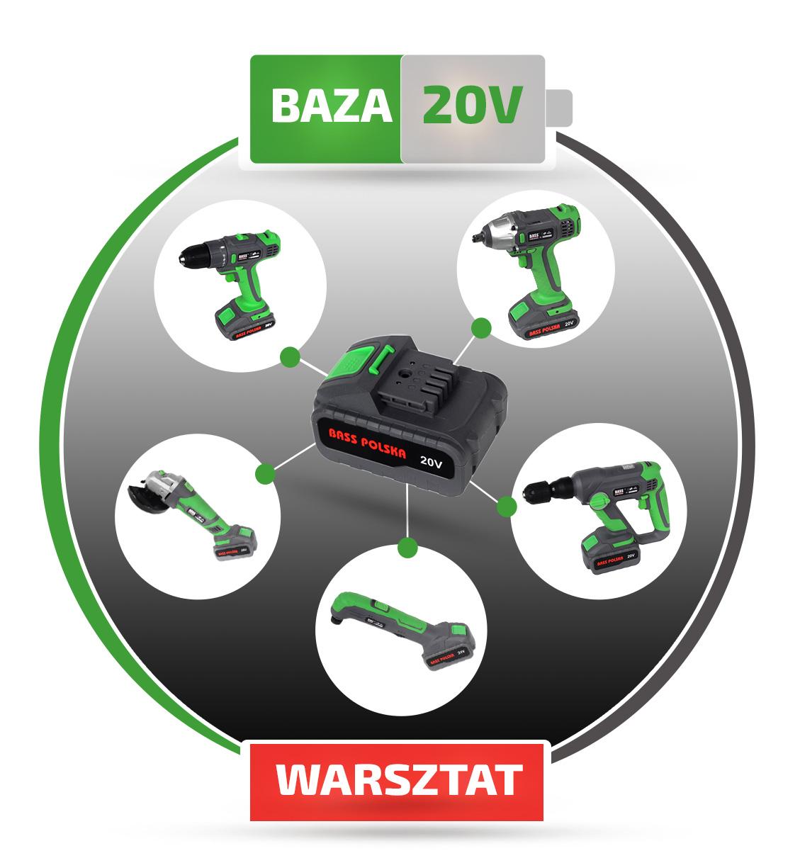 Baza narzędzi z jednym akumulatorem 20V
